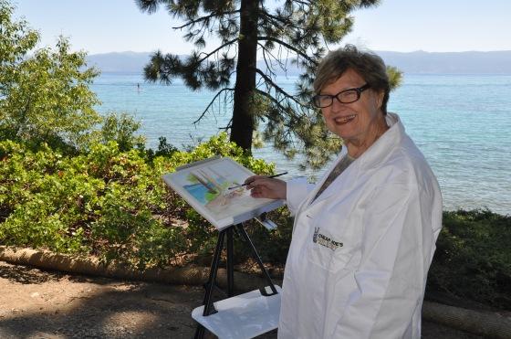 artist painting at Lake Tahoe